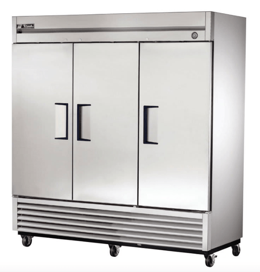 "True T-72F-HC 78"" Three Section Reach-In Freezer, (3) Solid Doors, 115v"