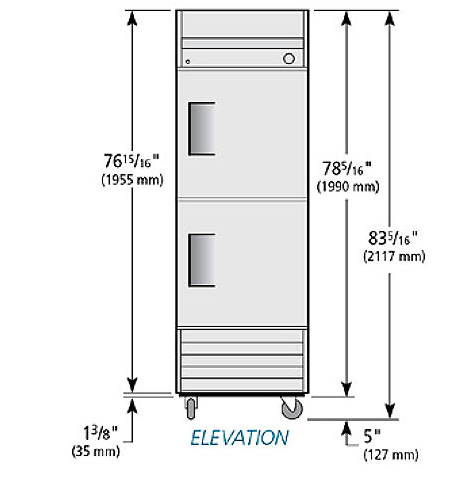 "True T-23F-2-HC 27"" Single Section Reach-In Freezer, (2) Right Hinge Doors, 115v"