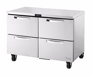 "True TUC-48F-D-4-HC~SPEC3 48"" W Undercounter Freezer w/ (2) Sections & (4) Drawers, 115v"