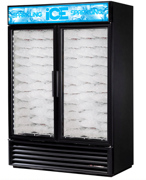 "True GDIM-49NT-LD 54"" Indoor Ice Merchandiser w/ (117) 8 lb Bag Capacity - Glass Door, Black, 115v"