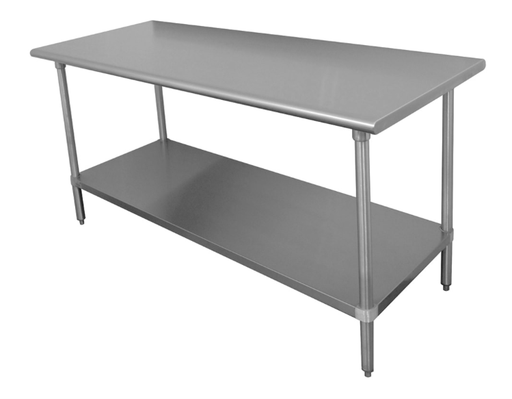 "Advance Tabco SS-244 48"" 14 ga Work Table w/ Undershelf & 304 Series Stainless Flat Top"
