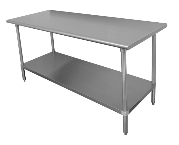 "Advance Tabco SS-245 60"" 14 ga Work Table w/ Undershelf & 304 Series Stainless Flat Top"
