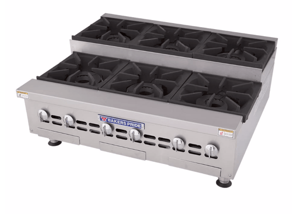 "Bakers Pride BPHHPS-636I 36"" Gas Hotplate w/ (6) Burners & Manual Controls, Natural Gas"