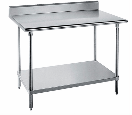 "Advance Tabco KSS-306 72"" 14 ga Work Table w/ Undershelf & 304 Series Stainless Top, 5"" Backsplash"