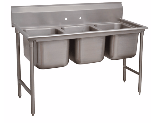 "Advance Tabco 93-3-54 62"" 3 Compartment Sink w/ 16""L x 20""W Bowl, 12"" Deep"