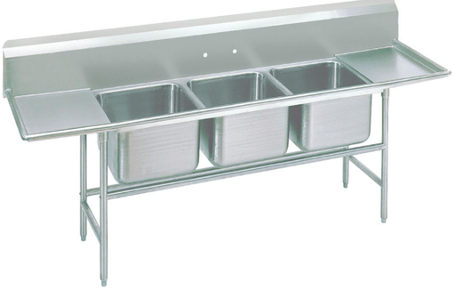 "Advance Tabco 93-3-54-24RL 103"" 3 Compartment Sink w/ 16""L x 20""W Bowl, 12"" Deep"