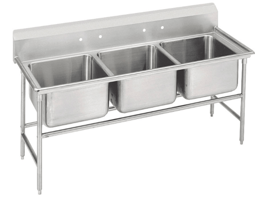 "Advance Tabco 93-23-60 74"" 3 Compartment Sink w/ 20""L x 20""W Bowl, 12"" Deep"