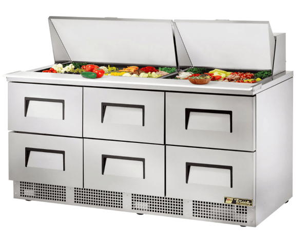 "True TFP-72-30M-D-6 72"" Sandwich/Salad Prep Table w/ Refrigerated Base, 115v"