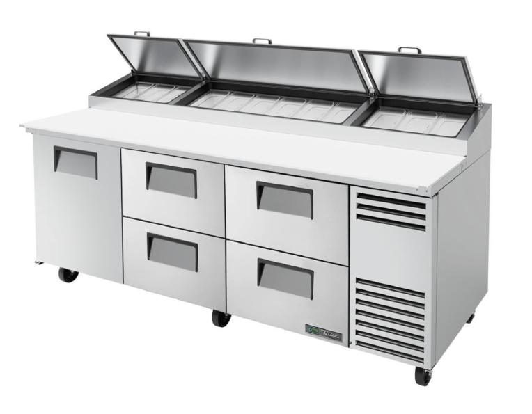 "True TPP-AT-93D-4-HC 93"" Pizza Prep Table w/ Refrigerated Base, 115v"