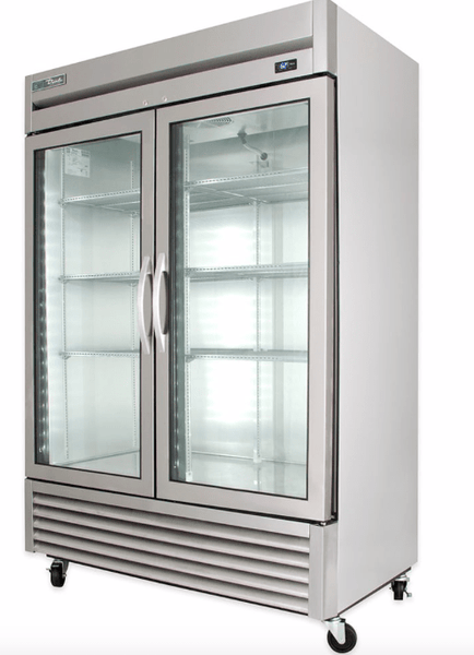 "True T-49G-HC~FGD01 54"" Two Section Reach In Refrigerator, (2) Left/Right Hinge Glass Doors, 115v"