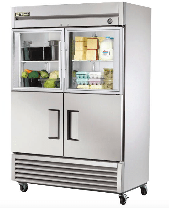 "True T-49-2-G-2 54 1/10"" Two Section Reach In Refrigerator, (2) Glass Doors, (2) Solid Doors, Left/Right Hinge, 115v"