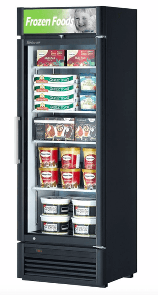 "Turbo Air TGF-15SD-N 26 3/8"" One Section Display Freezer w/ Swing Door - Bottom Mount Compressor, Black, 115v"