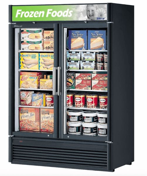 "Turbo Air TGF-47SD-N 51 1/8"" Two Section Display Freezer w/ Swing Doors - Bottom Mount Compressor, Black, 115v"