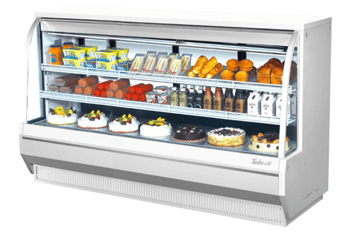 "Turbo Air TCDD-96H-W-N 96 1/2"" Full Service Deli Case w/ Curved Glass - (3) Levels, 115v"