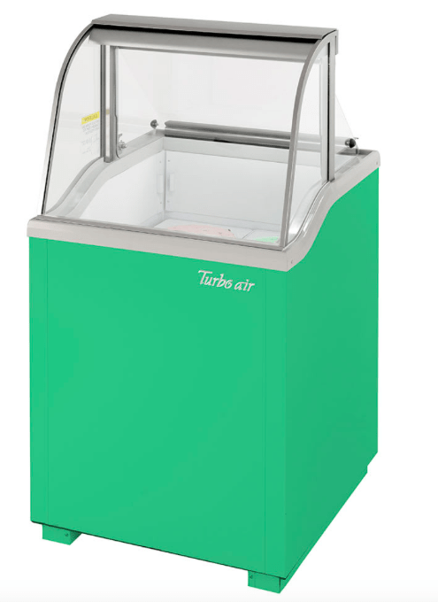"Turbo Air TIDC-26G-N 26"" Stand Alone Ice Cream Freezer w/ 4 Tub Capacity - Green, 115v"