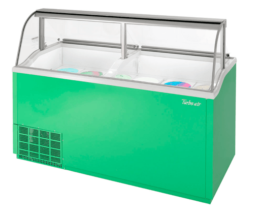 "Turbo Air TIDC-70G-N 68"" Stand Alone Ice Cream Freezer w/ 12 Tub Capacity - Green, 115v"