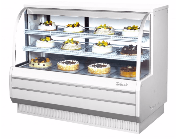 "Turbo Air TCGB-60DR-W(B) 60 1/2"" Full Service Dry Bakery Display Case w/ Curved Glass - (3) Levels, 115v"