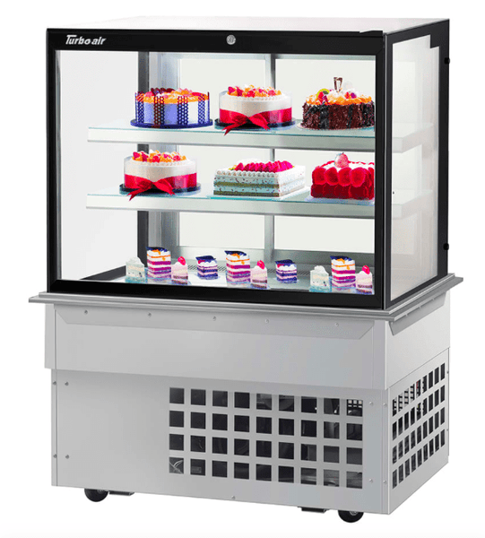 "Turbo Air TBP-48-54FDN 48 7/8"" Full Service Bakery Case w/ Straight Glass - (3) Levels, 115v"
