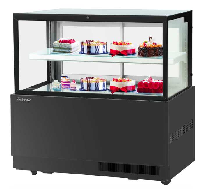 "Turbo Air TBP-60-46FN BLK 59"" Full Service Bakery Case w/ Straight Glass - (2) Levels, 115v"