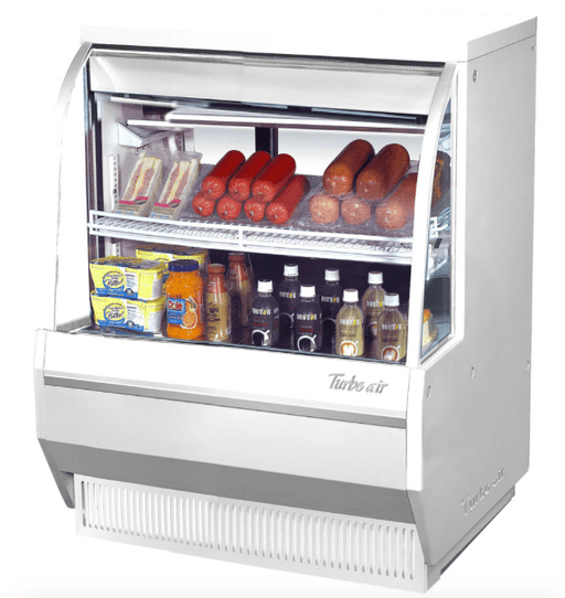 "Turbo Air TCDD-36L-W-N 36 1/2"" Full Service Deli Case w/ Curved Glass - (3) Levels, 115v"