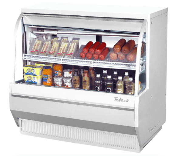 "Turbo Air TCDD-48L-W-N 48 1/2"" Full Service Deli Case w/ Curved Glass - (2) Levels, 115v"