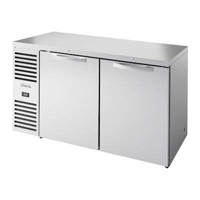 "True TBR60-RISZ1-L-S-SS-1 - Back Bar Cooler, two-section, 60""W, 24""D, (2) solid doors, stainless steel"