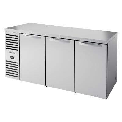 "True TBR72-RISZ1-L-S-SSS-1 - Back Bar Cooler, three-section, 72""W, (3) solid doors, stainless steel"