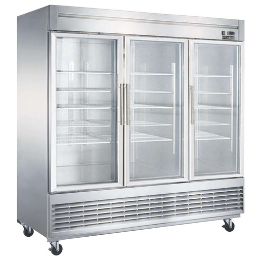 Dukers - D83R-GS3 Bottom Mount Glass 3-Door Commercial Reach-in Refrigerator