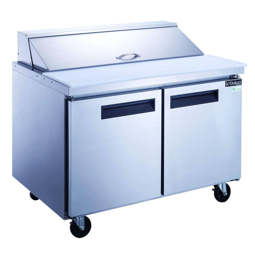 Dukers - DSP48-12-S2 2-Door Commercial Food Prep Table Refrigerator in Stainless Steel
