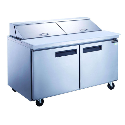Dukers - DSP60-16-S2 2-Door Commercial Food Prep Table Refrigerator in Stainless Steel