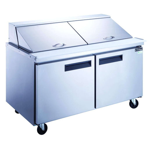 Dukers - DSP60-24M-S2 2-Door Commercial Food Prep Table Refrigerator in Stainless Steel with Mega Top