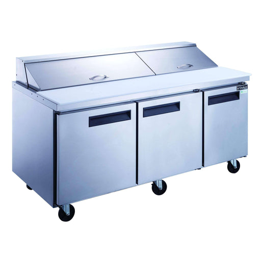 Dukers - DSP72-20-S3 3-Door Commercial Food Prep Table Refrigerator in Stainless Steel