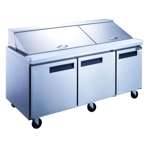 Dukers - DSP72-30M-S3 3-Door Commercial Food Prep Table Refrigerator in Stainless Steel with Mega Top