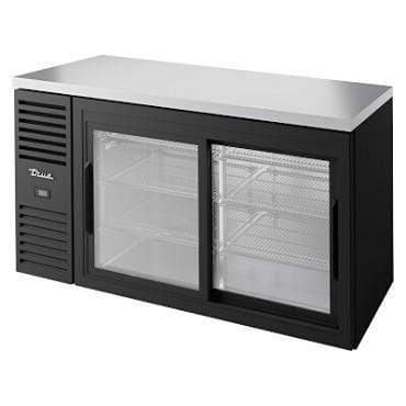 "True TBR60-RISZ1-L-B-11-1 - Back Bar Cooler, two-section, 60""W, 24""D, (2) glass doors, black"