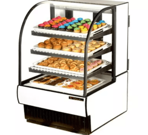 "True TCGD-31 31"" Full Service Bakery Case w/ Curved Glass - (4) Levels, White, 115v"