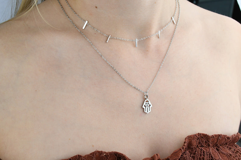 Boho Protect Hand Silver - Pyrite Jewelry - Halsketten Silber