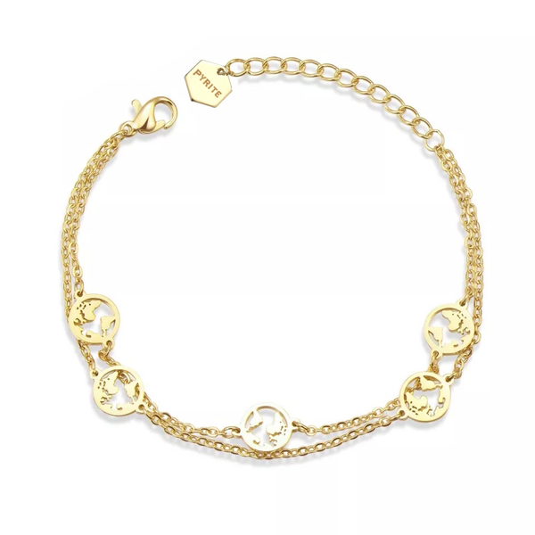 Double World Bracelet Gold