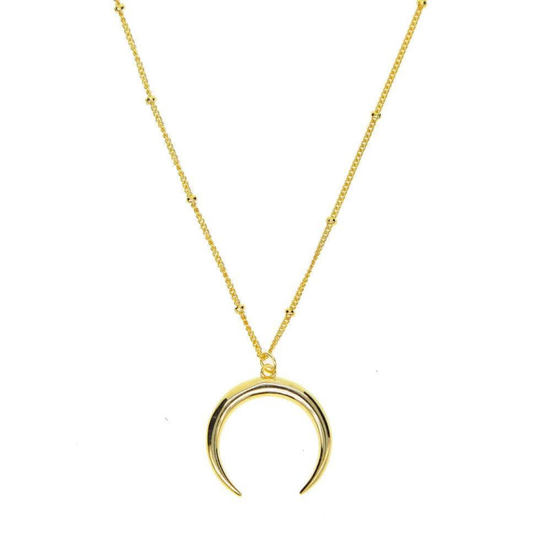 DOTTED MOON NECKLACE GOLD - Pyrite Jewelry - [product_type]