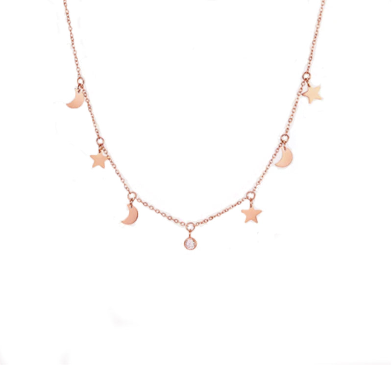 Night Sky Chain Rosé Gold - Pyrite Jewelry - Gold Chain