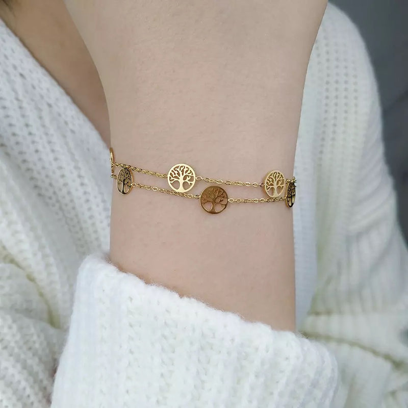 Double tree of life Bracelet Gold
