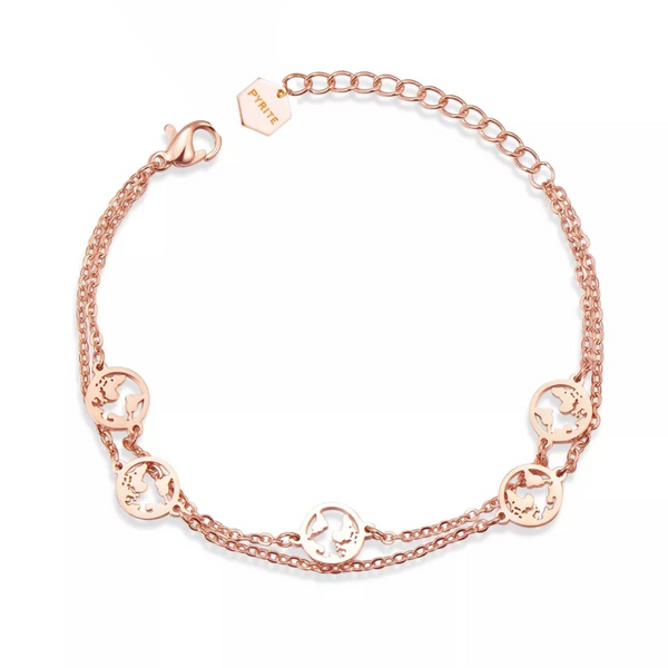 Double World Bracelet Rosé Gold