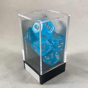 Chessex 7 Piece Dice Set Dice Menagerie 10: Luminary Poly Sky/Silver