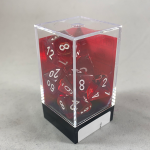 Chessex 7 Piece Dice Set  Poly Red/White