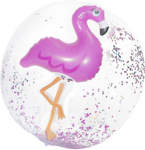 Flamingo Confetti Beach Ball