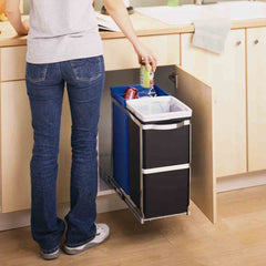 35L dual compartment under counter pull-out bin - lifestyle man throwing bin away