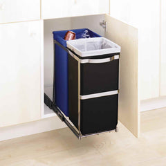 35L dual compartment under counter pull-out bin - lifestyle bin in cabinet