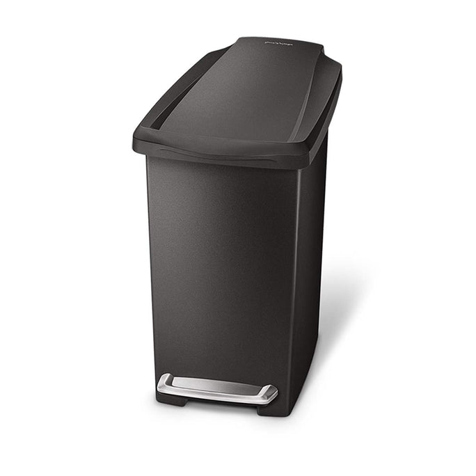 10L slim plastic step can - black - main image