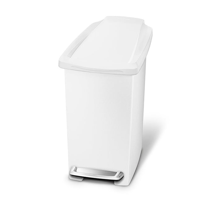 10L slim plastic step can - white - main image