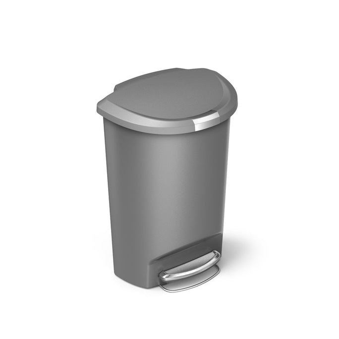 50L semi-round plastic step trash can - grey - main image
