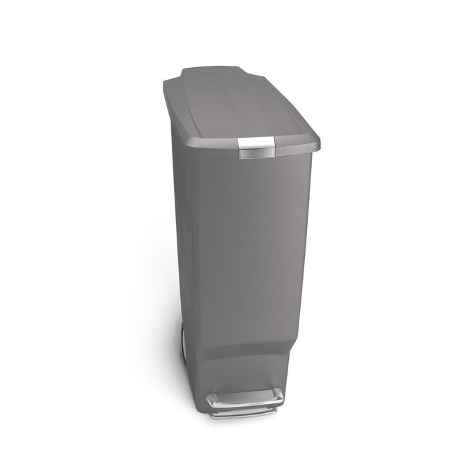 40L slim plastic step can - grey - front view main image